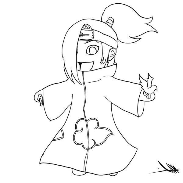 600x600 Awesome Chibi Deidara Drawing Coloring Page