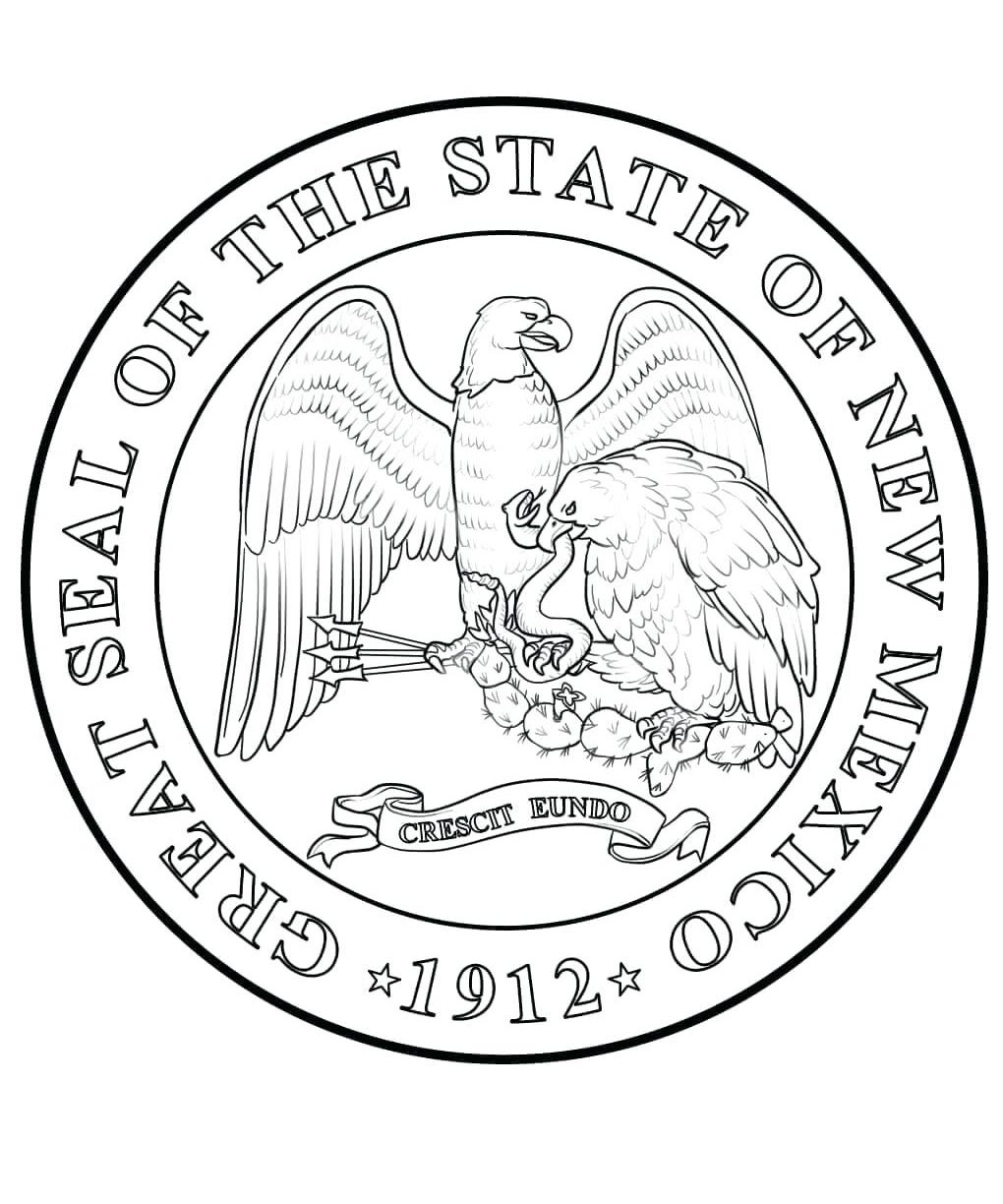 1020x1224 Delaware State Seal Coloring Page