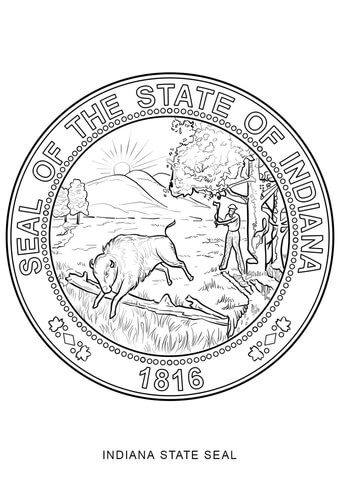 340x480 Delaware State Seal Coloring Page