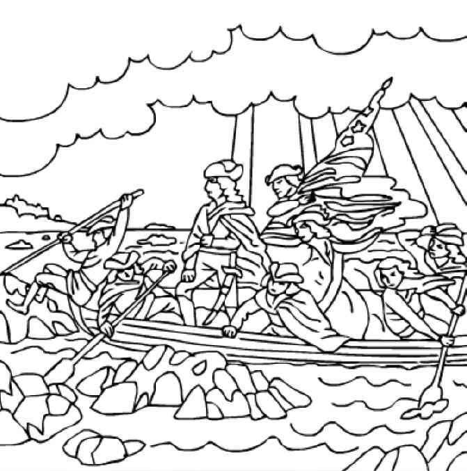 671x677 George Washington Crossing The Delaware River Free Printable