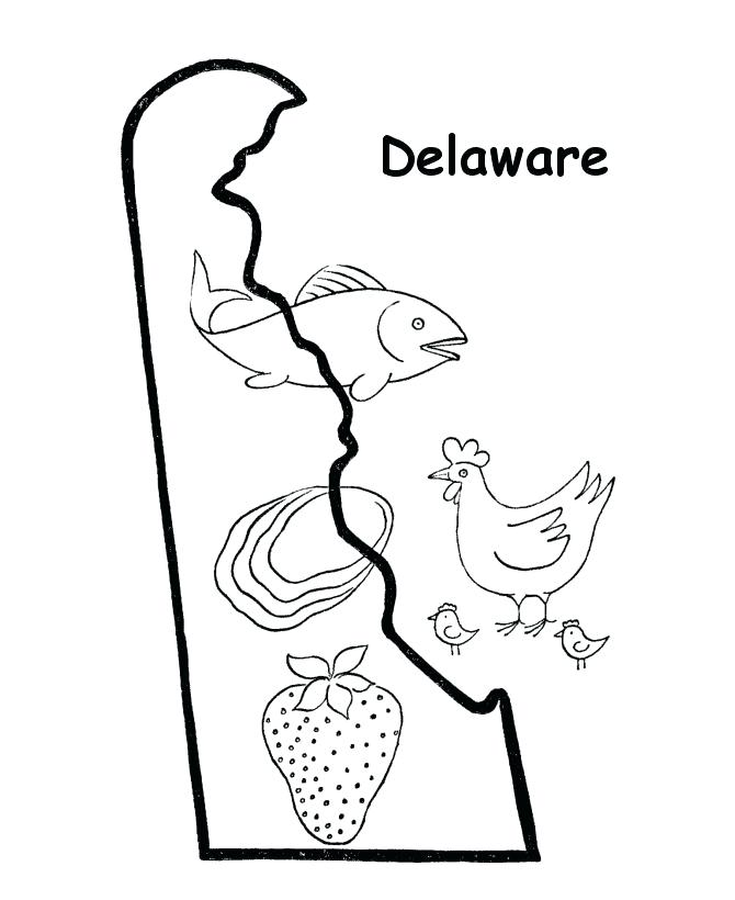 670x820 Delaware State Flag Coloring Page