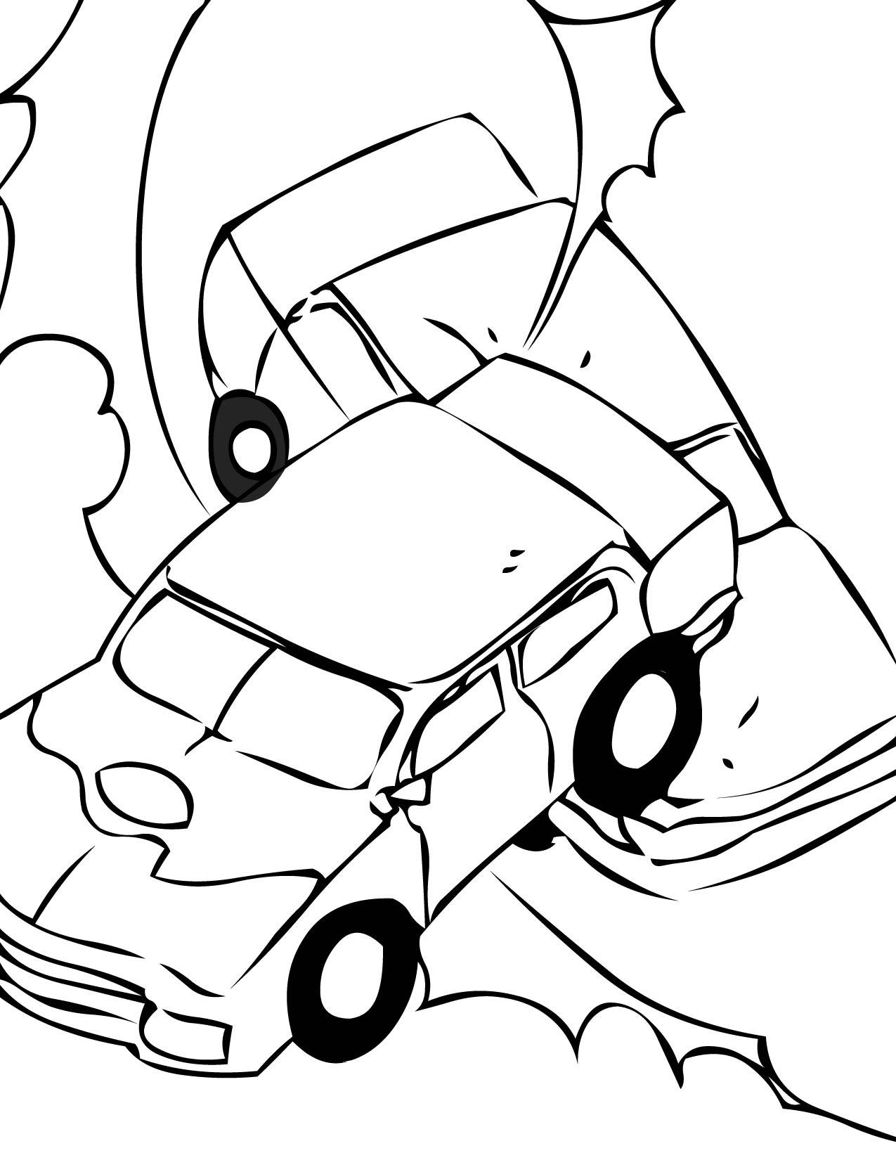 1275x1650 Demolition Derby Coloring Page