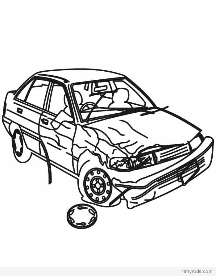 700x894 Fine Car Crash Coloring Pages Ensign