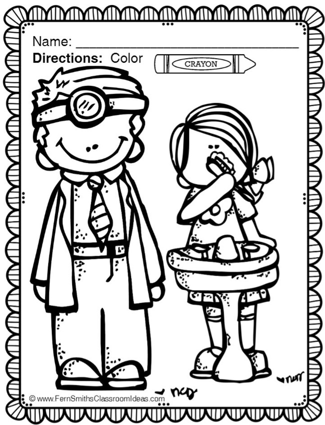 650x848 Dental Health Month Coloring Page
