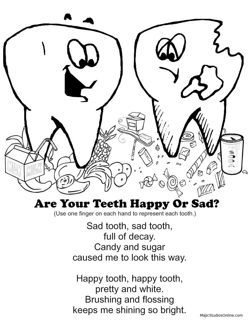 791x1024 Teeth Coloring Pages Happy Tooth Sad Tooth Fingerplay Dental