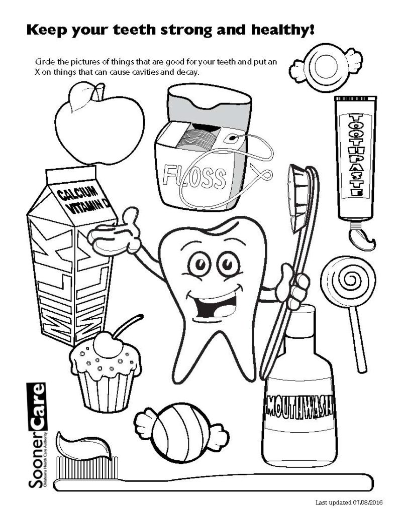 800x1024 Dental Hygiene Coloring Pages Healthy Teeth Funycoloring Within