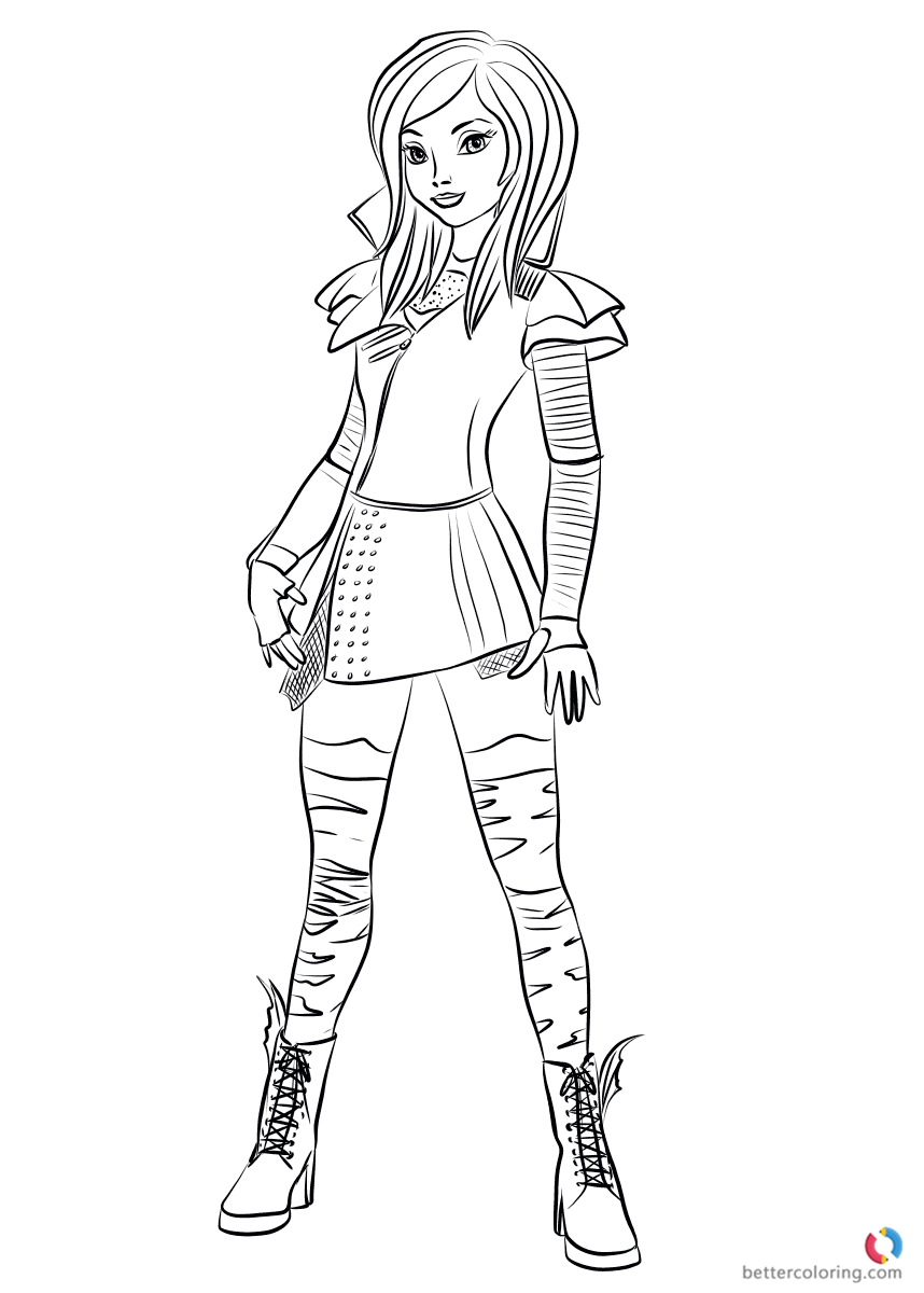 858x1200 Mal From Descendants Coloring Pages Printable For Kids