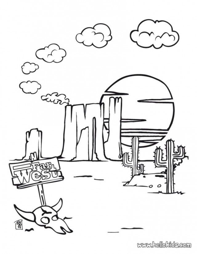 640x827 Desert Landscape And Animal Coloring Page For Kids Free Coloring