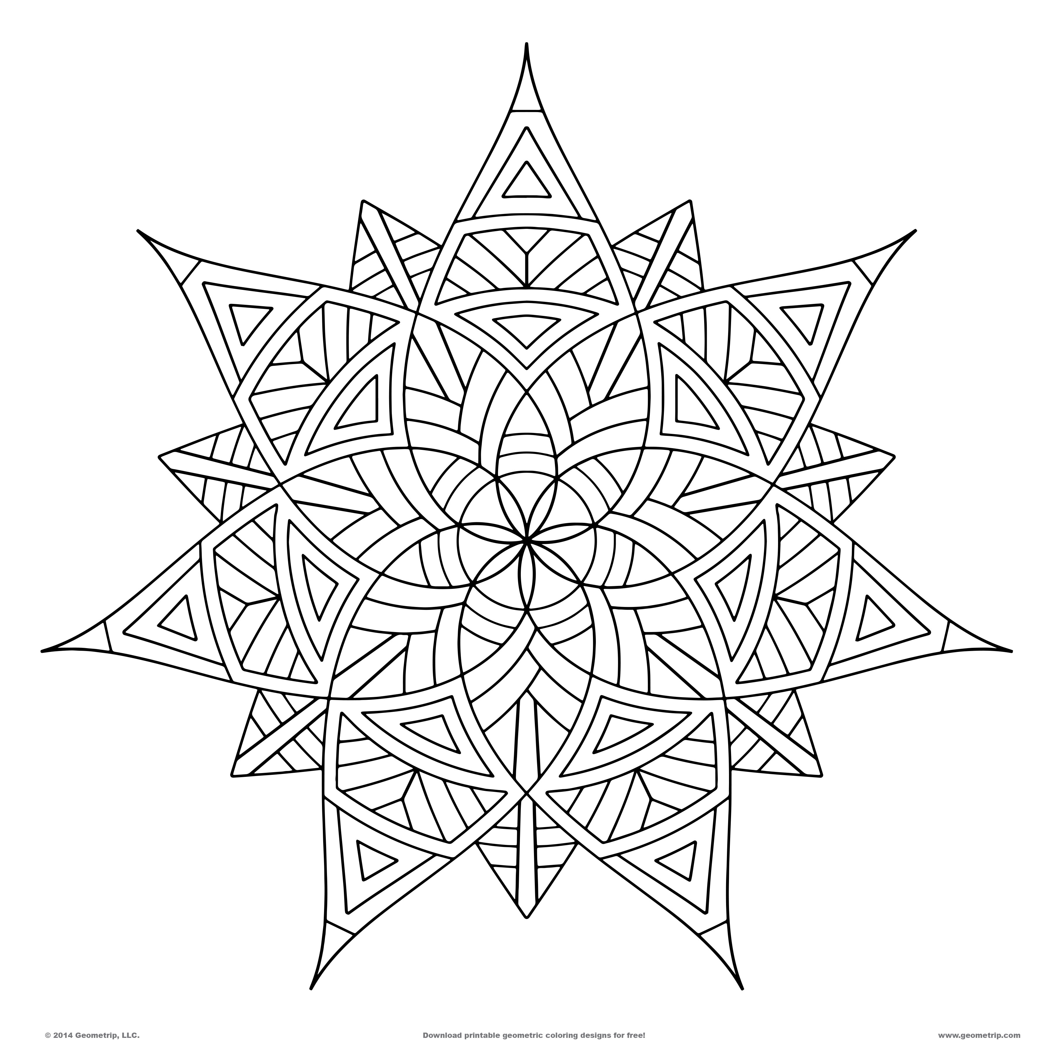 3600x3600 Geometric Patterns Coloring Pages