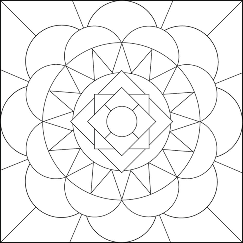 1000x1000 Simple Geometric Designs Coloring Pages