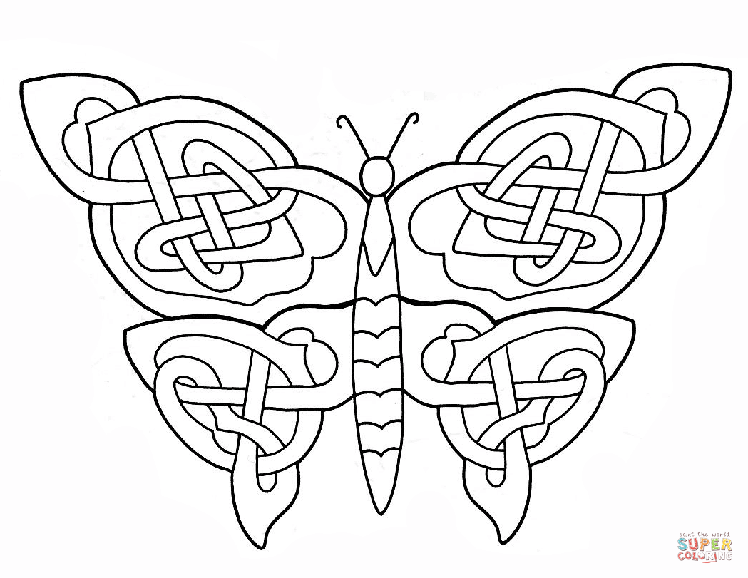 1049x811 Celtic Butterfly Design Coloring Page Pages