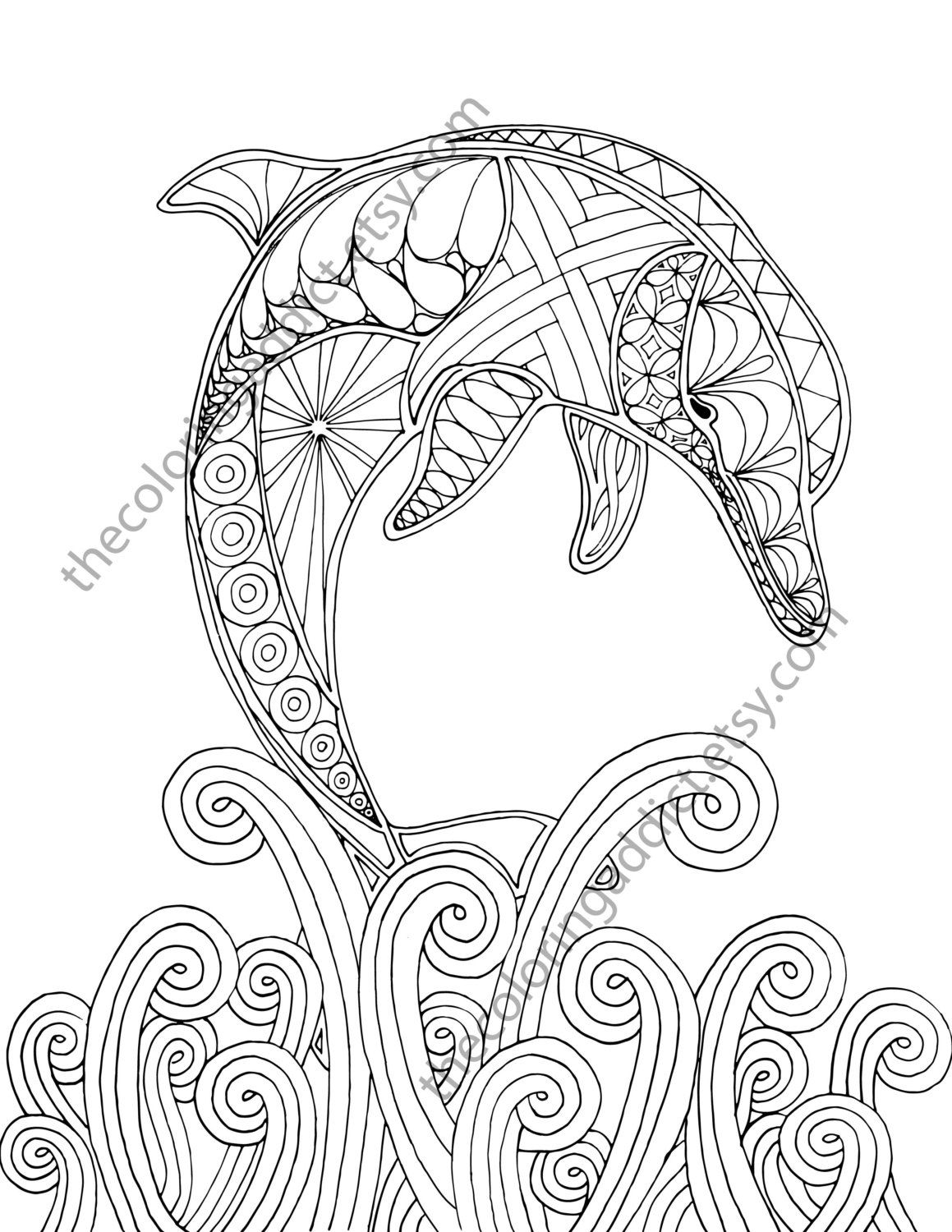 1159x1500 Dolphin Coloring Page, Adult Coloring Sheet, Nautical Coloring