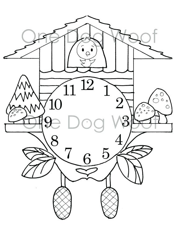 570x738 Design Your Own Coloring Page Create Cuckoo Clock Digital Print