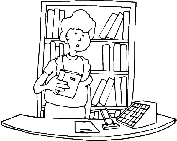 600x481 Library Front Desk Coloring Pages