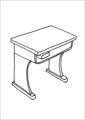 300x424 School Desk Coloring Page