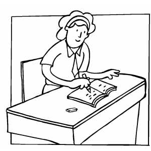 300x300 Student Writing At Desk Coloring Sheet