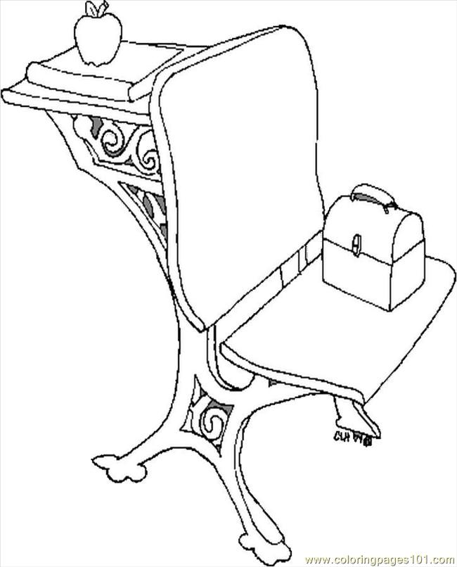 650x806 Chair And Desk Coloring Page
