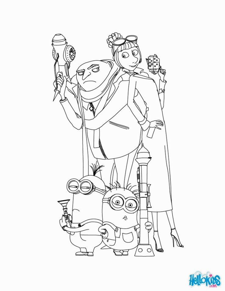 738x954 Despicable Me Coloring Pages On Despicable Me Gru Margo Edith