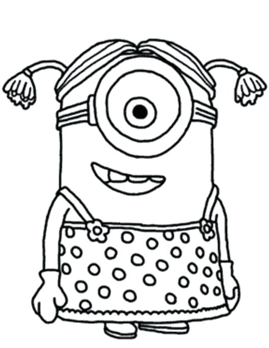 530x685 Minion Color Sheets Minion Girl Despicable Me Coloring Pages