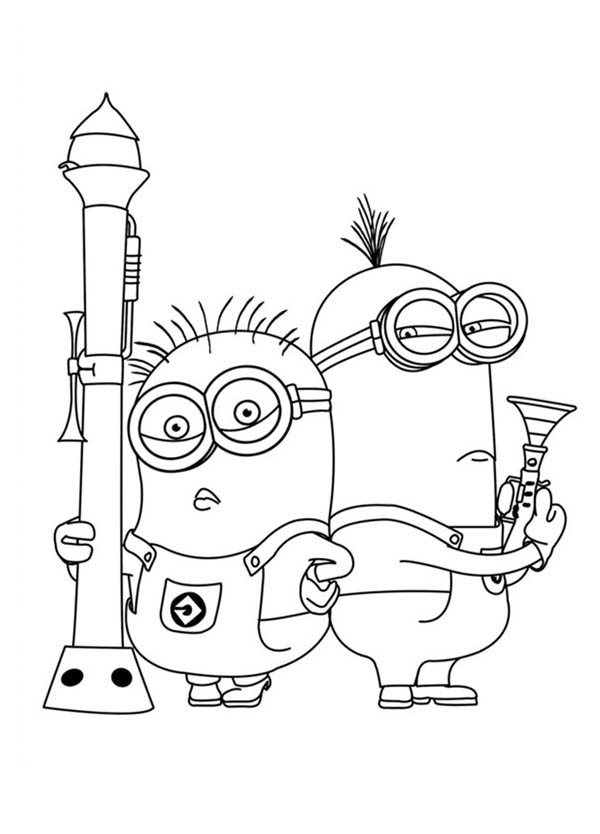 600x834 Minions Posing With Heavy Gun In Despicable Me Coloring Page