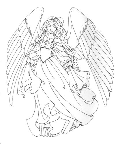 Detailed Angel Coloring Pages