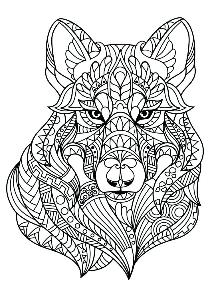 736x1040 Wolf Coloring Pages For Older Kids Detailed Colouring In Tiny Page