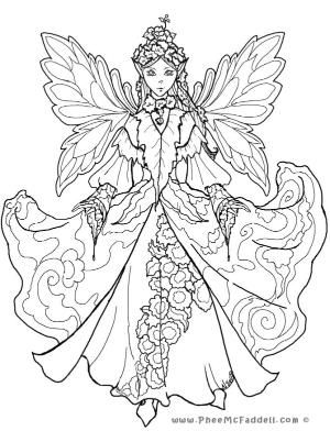 300x402 Detailed Coloring Pages For Adults Court Fairy