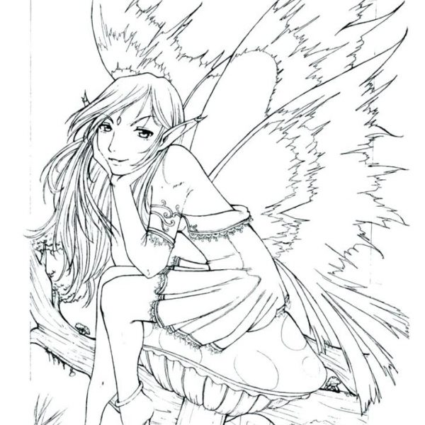 600x600 Detailed Fairy Coloring Pages Fairies Coloring Pages For Adults