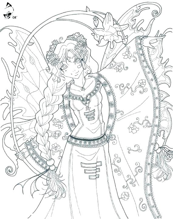 570x720 Fairy Coloring Pages Detailed Fairy Coloring Pages Anime Fairy