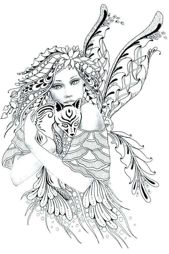 570x855 Adult Fairy Coloring Pages