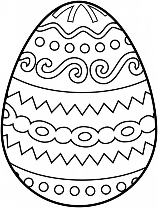 600x791 Decorative Striped Easter Egg Coloring Page