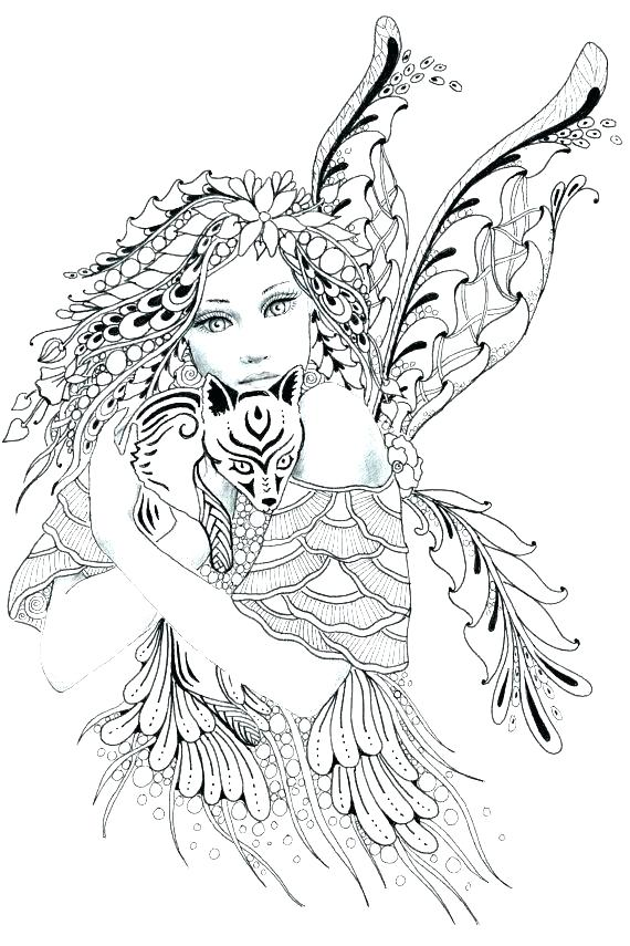 570x855 Detailed Coloring Pages Detailed Coloring Pages Detailed Fairy