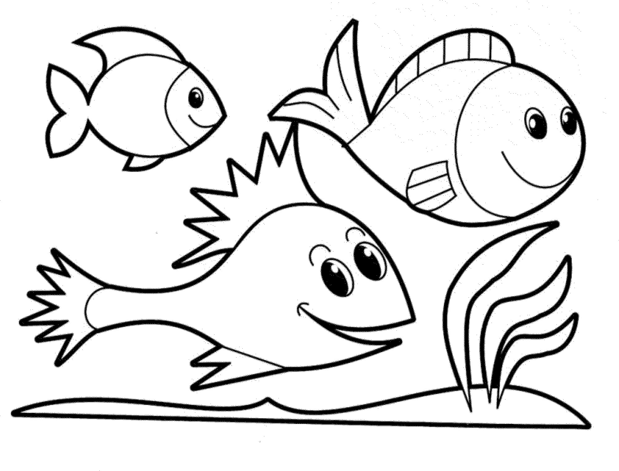 2000x1524 Fish Nature Coloring Page For Kids