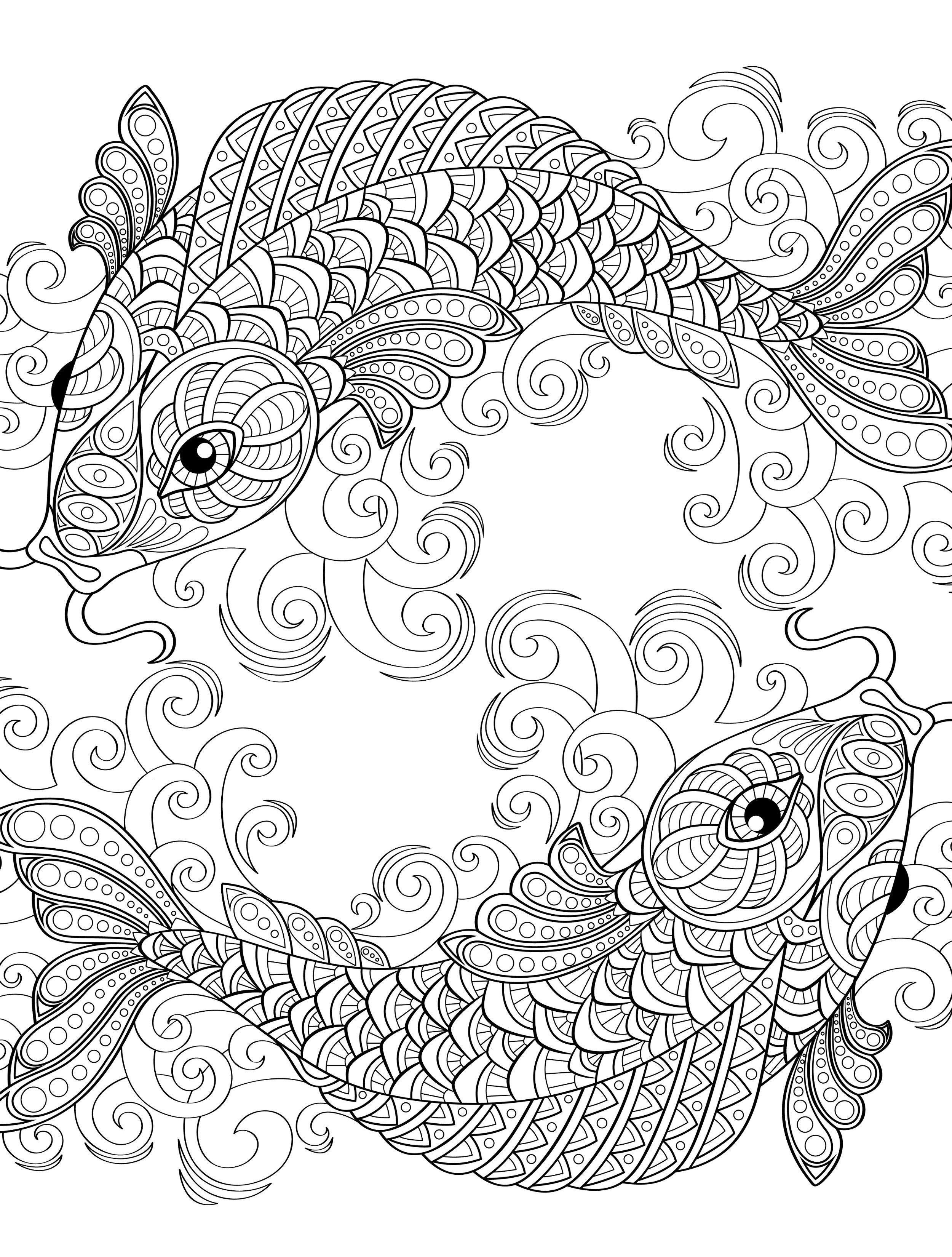 2500x3300 Yin And Yang Pieces Symbol Fish Coloring Page For Adults