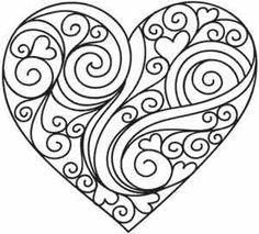 236x213 Heart Coloring Page Could Be A Nice Quilling Pattern Too