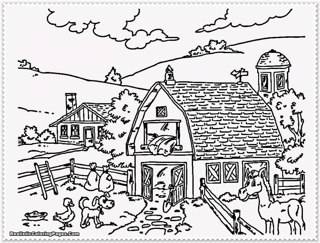 1024x778 Landscape Coloring Page For Adults
