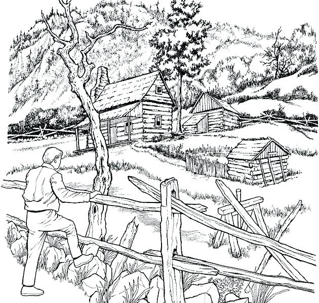 630x600 Landscape Coloring Pages Packed With Christmas Landscape