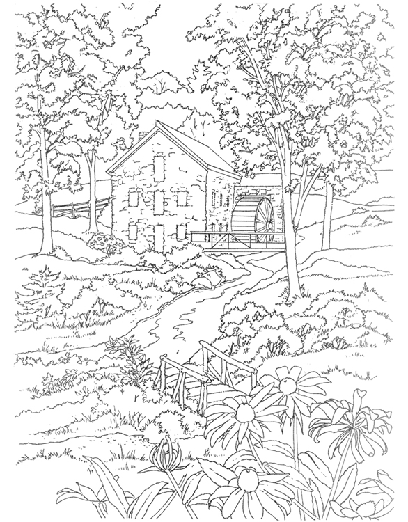 586x750 Scenery Coloring Pages For Adults