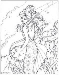 Detailed Mermaid Coloring Pages For Adults