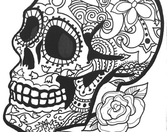 Detailed Skull Coloring Pages at GetDrawings.com | Free for personal ...