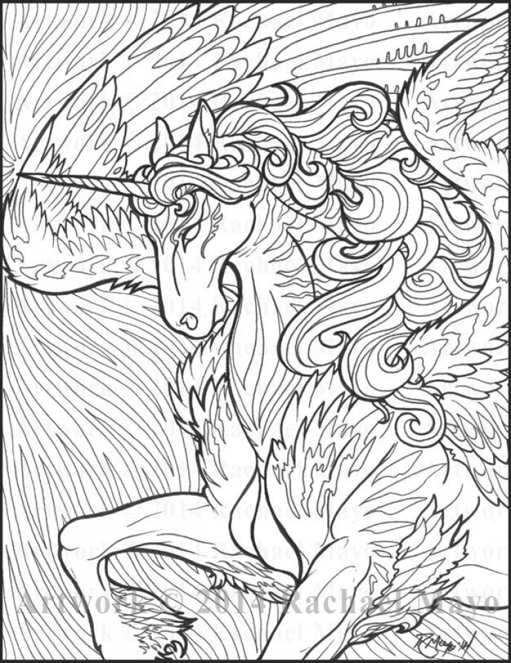 740x960 Free Printable Unicorn Coloring Pages For Adults