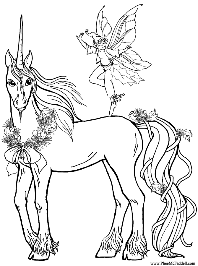 670x900 Elf Deco And The Unicorn Coloring Page