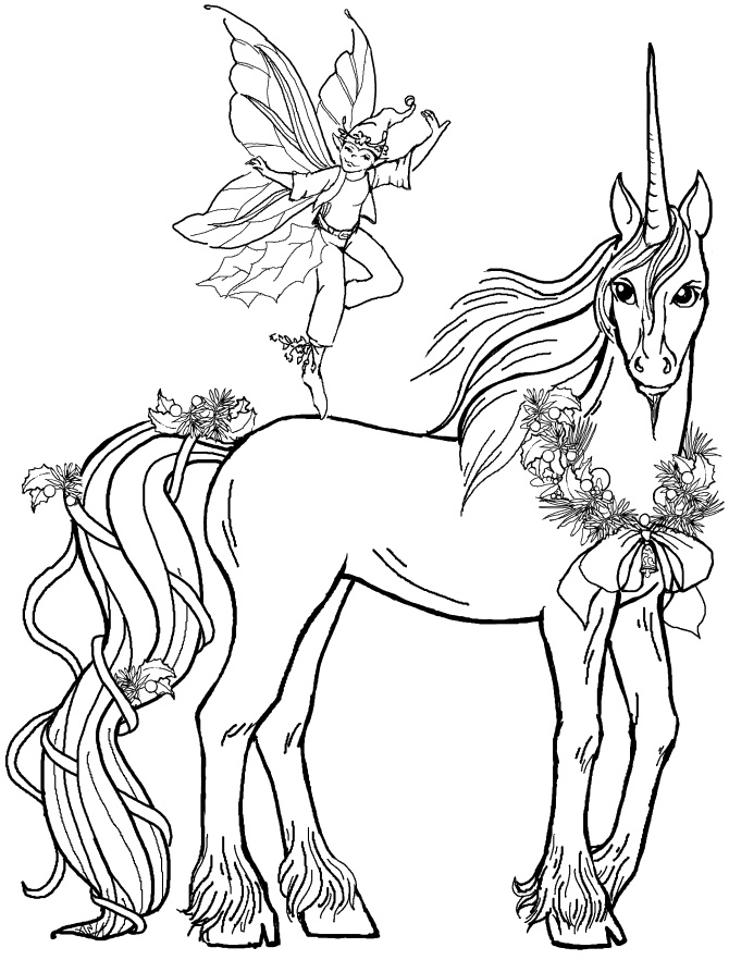 670x882 Pictures Fairy Boy With Unicorn Coloring Pages