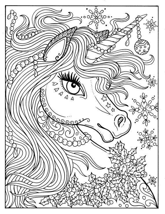 570x738 Unicorn Christmas Coloring Page Adult Color Book Art Fantasy