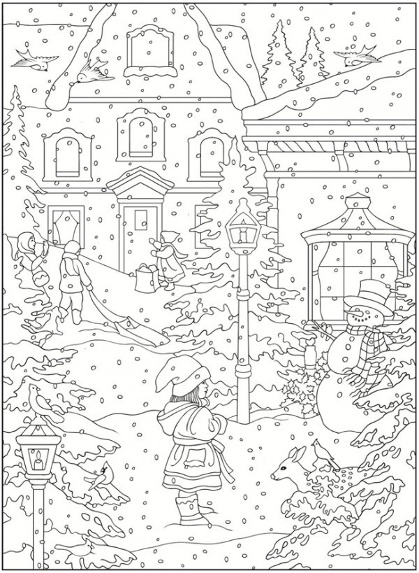 600x819 Freebie Winter Coloring Pages Stamping