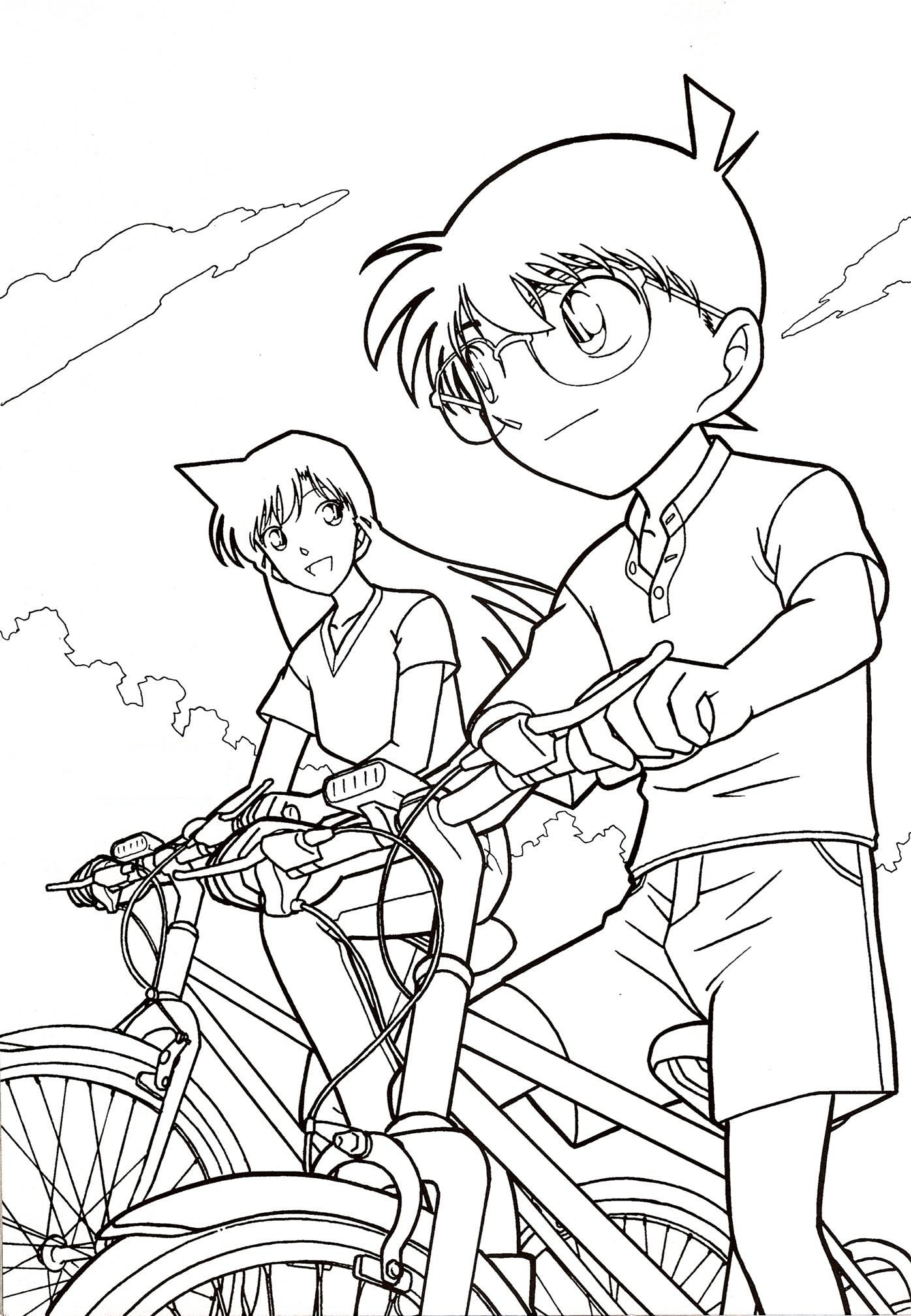1396x2015 Surprise Detective Conan Coloring Pages Sheets Free For Kids