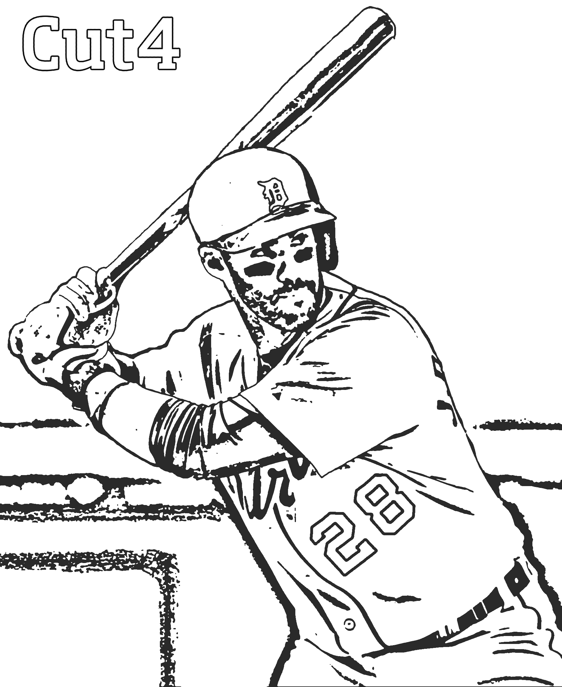 1842x2250 Detroit Tigers Paws Coloring Pages Mlb Baseball Player