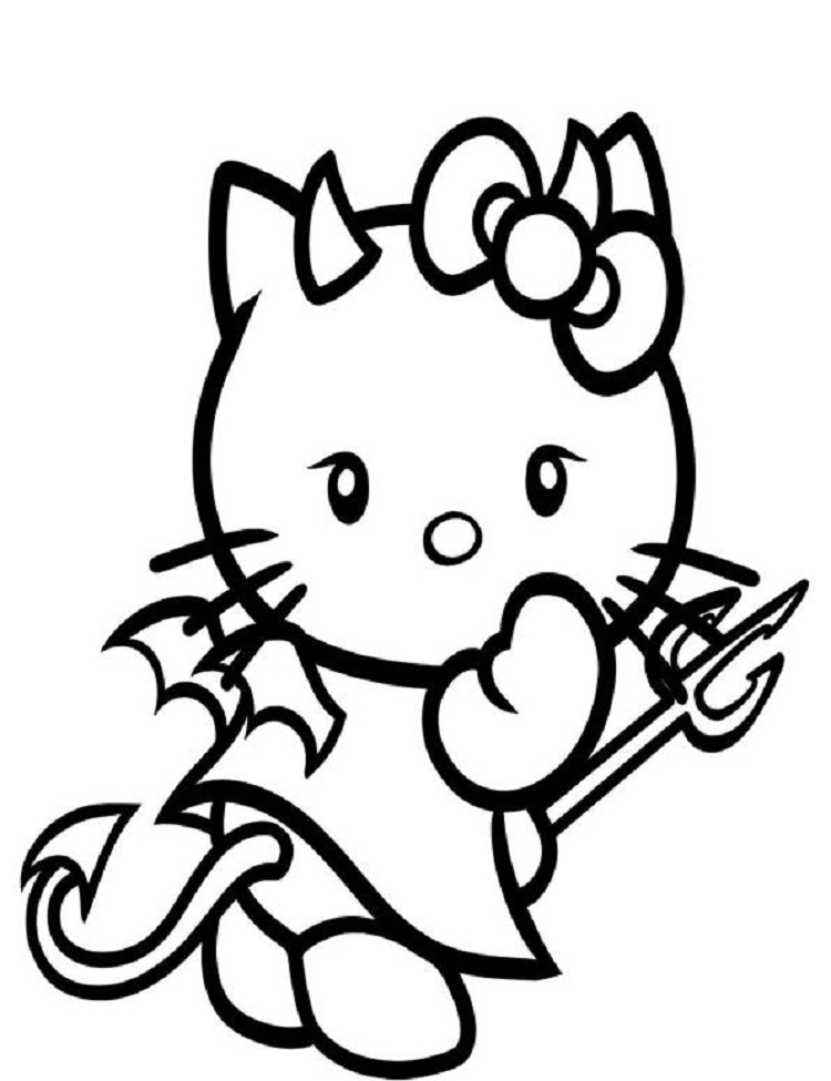 750x975 Hello Kitty Devil Coloring Pages