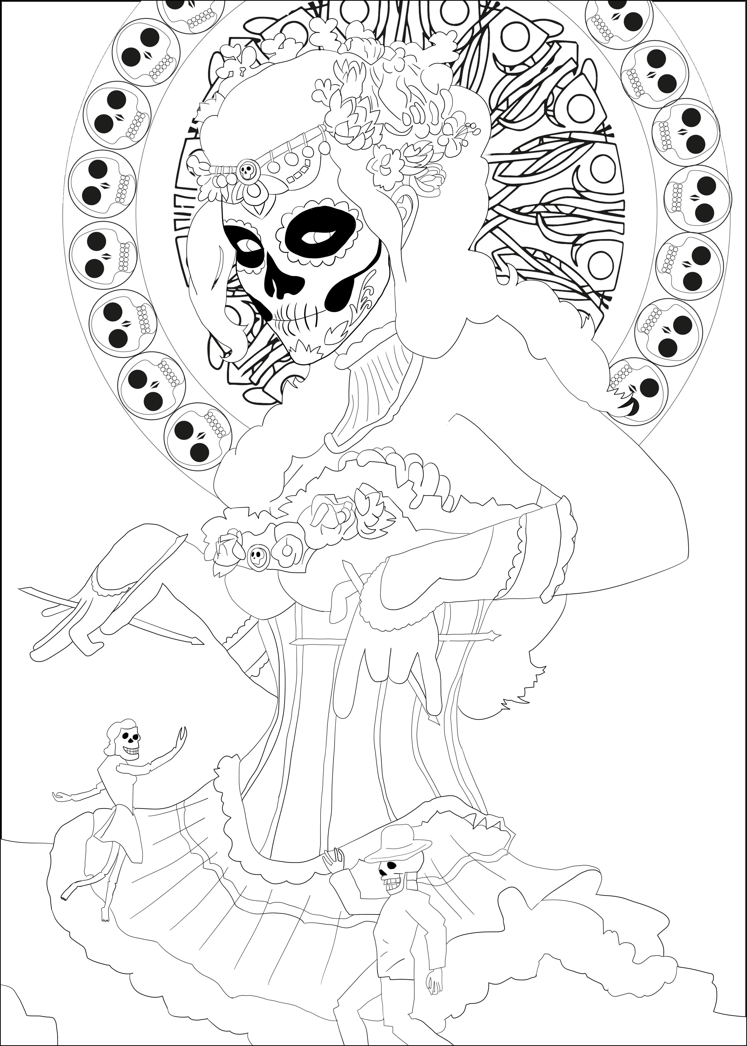 2952x4133 Dia De Los Muertos Coloring Pages
