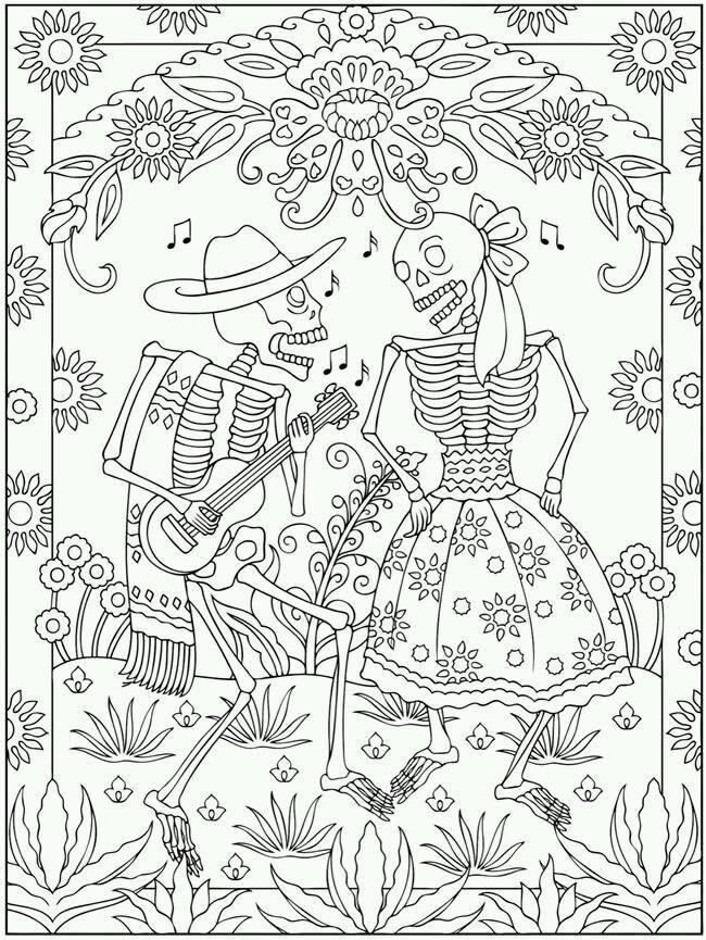 650x865 Dia De Los Muertos Couple Coloring Pages